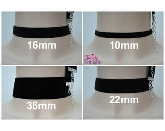 """BLACK VELVET CHOKER Necklace, Choose Your Classic Ribbon Width 3/8"""" 5/8"""" 7/8"""" 1.5"""" And Length, Handmade To Order :)"""