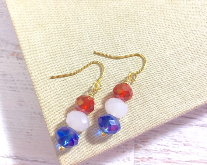 Featured listing image: Simply Sparkling Glass Beaded Short Dangle Drop Earrings in Patriotic Red White and Blue for 4th of July Independence Day