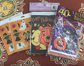Mid to late 80's Halloween paper treat bags, set with 4 designs, Winnie the Pooh and 2 sticker packs
