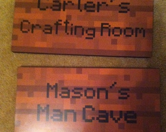 """Minecraft Inspired Wooden Signs - 8 """" x 16"""" - Wood  backer"""