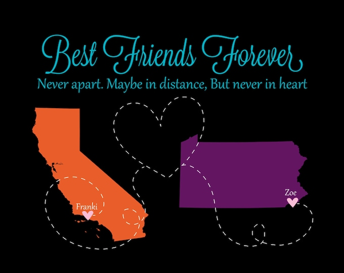 Christmas Best Friend Gift - Long Distance Gift Ideas for Friends Birthday Present State Map Unique Sorority Sister Going Away Christmas