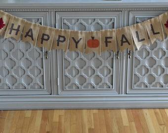 Happy Fall Banner, Fall Burlap Banner, Pumpkin Banner, Rustic Fall Decor, Fall Decor, Thanksgiving Decor, Wall Banner
