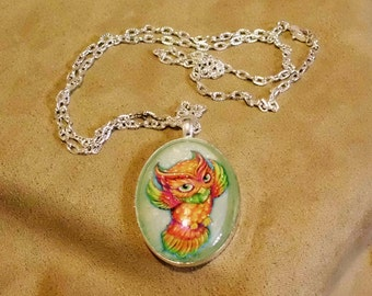 GÉNIE - unique OOAK art necklace - magical friendly owl companion guide special friend- signed and dated - handmade wearable art