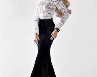 ELENPRIV black stretch velvet maxi skirt with lace elements for Fashion royalty FR:16 and similar body size dolls