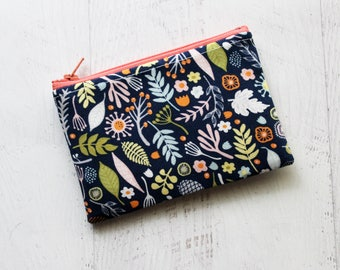 Navy zippered bag - small floral zipper pouch - change purse - wallet - floral change purse - best friend gift ideas - small zippered bag