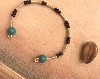 Bead and wire cuff bracelet