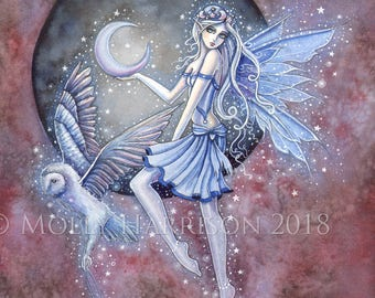 Star Collectors - Original Watercolor and Mixed Media Painting by Molly Harrison - Fairy and Mystical Owl - Celestial Art