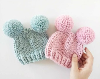 Double Pom Pom Hat // Baby Pom Pom Hat // Newborn Photo Prop // Baby Shower // Pom Pom Hats for Kids // Valentine's Day