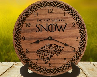 Personalized Wedding Gift for Game of Thrones Fans - Grey Direwolf - Winterfell - Nerd Gift - Winter is Coming - Emblem Sigil - Stark