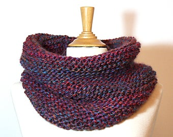 Chunky cowl * storm * large and warm variegated purple dominant