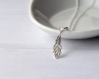 Silver Necklace - Sterling Silver - Silver Pendant - Feather Pendant - Dainty Necklace - Simple Necklace - Layering Necklace