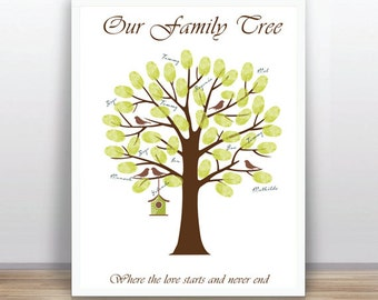 DIY Family Tree Guest Book - Printable PDF - Digital Fingerprint Signature Tree - Custom color,text and size includes