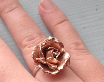 Copper and Sterling silver rose ring - adjustable size