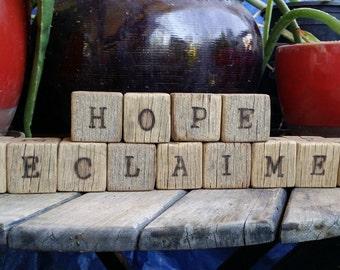 Rustic Wood Letter Blocks / Children Blocks / Personalized Blocks (Mt. 5:18)