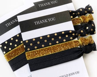 Black and Gold Party Favors, Gold and Black Party Favors, Black and Gold Bridal Shower Decorations, Black and Gold Bachelorette Hair Ties