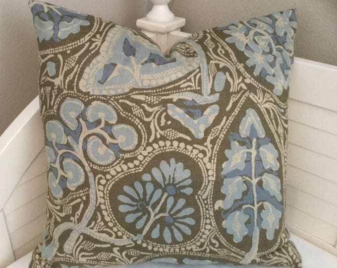 Thibaut Cochin in Aqua and Brown Designer Pillow Cover -  Square, Lumbar and Euro Pillow Cover Sizes