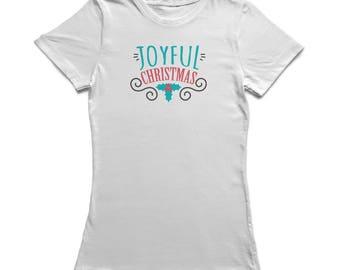 Joyful Christmas Text Christmas Leaves Ornament  Women's White T-shirt