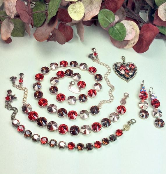 Swarovski Crystal 12MM Necklace,Bracelet,Earrings & Heart -STUNNING - Lt. Siam Red, Chocolate, Rose Gold - Designer Inspired - FREE SHIPPING