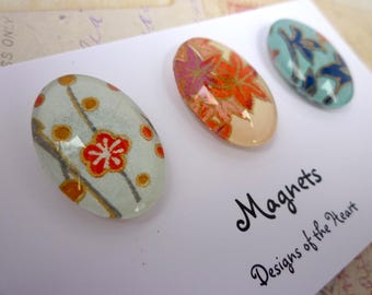 Oval Glass Magnet set - Japanese Paper Collection