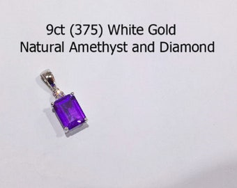 9ct 9K 375 White Gold Natural Amethyst and Diamond Pendant NEW