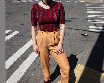Vintage Orange Silk High Waisted Trouser Pants / Diane Gilman / size small