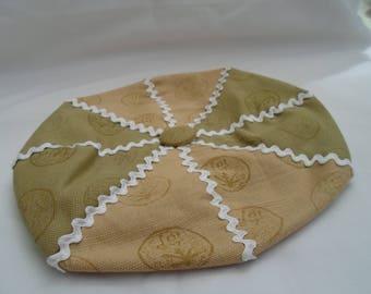 Khaki and sand linen beret