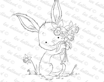 Bunny with daffodils