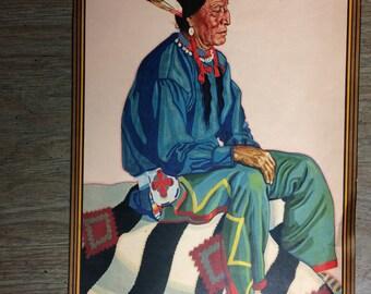 """Native American Print, """"Chief Two Guns White Calf"""""""