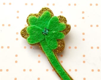 Four leaf clover brooch - felt brooch - St Patrick's Day