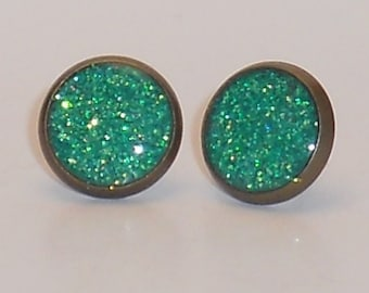 Mermaid Green Glitter 10mm Post Earrings, Fake Plugs