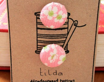 Hand made pink Tilda buttons, Bumblebee - set of two 19mm.  crafter gift