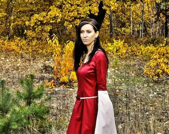 Autumn Lady - fantasy medieval dress, Game of Throne, elves dress, priestess fairy sorceress medieval dress cosplay LARP