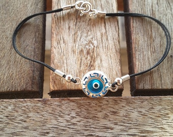 Glass Evil Eye Silver Bracelet