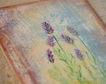 Lavandula painting, milfoil picture, shabby chic vintage floral painting, herbs botanical painting wooden board