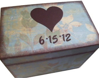 Recipe Box Decoupaged This Heart Wedding Guest Book Box is Large and Handcrafted Holds 4x6 Recipe Cards  MADE To ORDER
