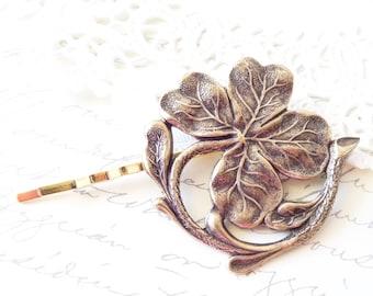 Golden Ox Brass Lucky Clover Hair Pin - Four Leaf Clover Bobby Pin - Big Four Leaf Clover Hair Pin - Clover Hair Accessory - Irish Motif