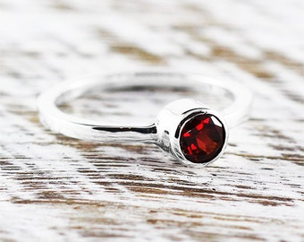 Garnet Ring Engagement Ring January Birthstone Gemstone Ring Garnet Jewelry Birthstone Ring Sterling Silver Ring Garnet Red Garnet Ring