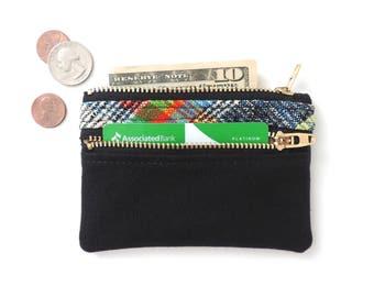 Canvas Wallet Pouch Double Zipper Coin Purse Slim Wallet Plaid Black