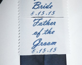 Custom clothing label embroidered '' Father of the Groom '' by Natalia Sabins Custom Embroidered