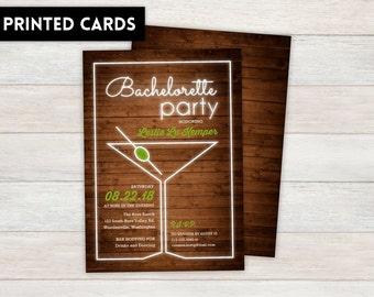 Bachelorette Party Invitations,  Personalized, Bachelorette, Bachelorette party, printed Bachelorette party invite, neon martini