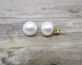 Pearl Stud Earrings Gold, Pearl Earrings Stud, Freshwater Pearl Post Earrings, Bridesmaid Stud Earrings, Small Pearl June Birthstone Jewelry