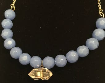 Blue Faceted Beaded necklace with Gold chain, Clear Stone Pendant