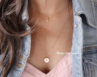 Double Necklace, delicate dainty Starfish layering Disk necklace - 14K gold filled, short simple necklace, mothers day gifts for wife, mom