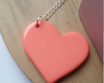 Opaque coral Heart Necklace