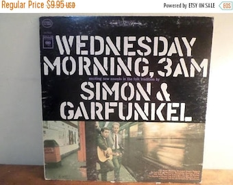 Save 30% Today Vintage 1970 LP Record Simon and Garfunkel Wednesday Morning 3AM Very Good Condition 12233