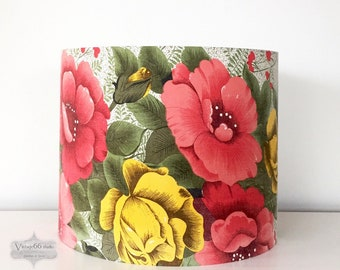 Vintage 1950s Roses Drum Lampshade, recycled curtain, yellow and red/pink roses, handmade, faded grandeur, table lamp, standard lamp shade