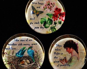 GLASS SOUL STONES altered art collage therapy inspirational birds nest butterfly recovery survivor