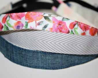 Set of Three Hankbands - Bring on Spring! - Denim, Flowers, Chevron - Running/Workout Headband