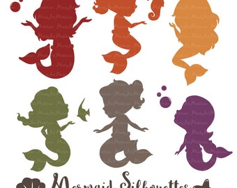 Professional Mermaid Silhouettes Clipart in Autumn - fall Mermaids, Mermaid Clipart, Mermaid Vectors
