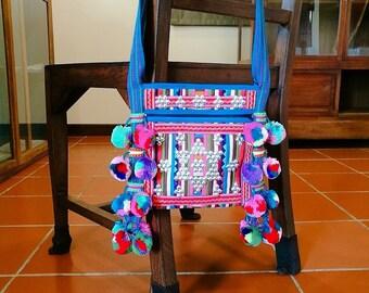 LAHU, hill tribe boho style Shoulder bag : Blue